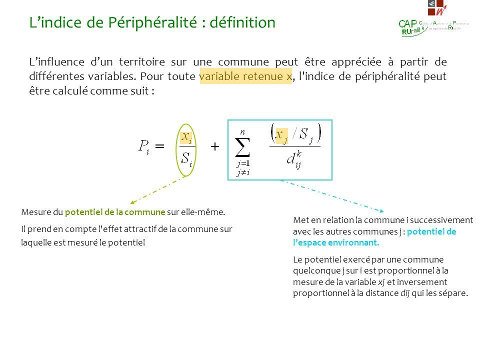Lindice de Périphéralité : définition Linfluence dun territoire sur une commune peut être appréciée à partir de différentes variables. Pour toute vari