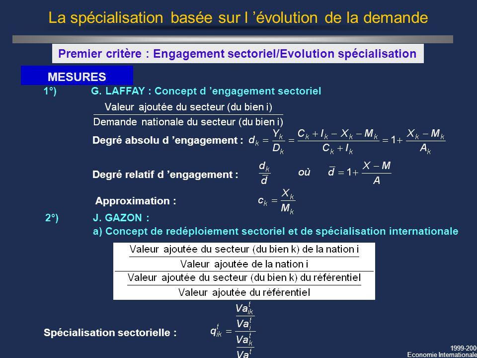 1999-2000 Economie Internationale La spécialisation basée sur l évolution de la demande Premier critère : Engagement sectoriel/Evolution spécialisatio