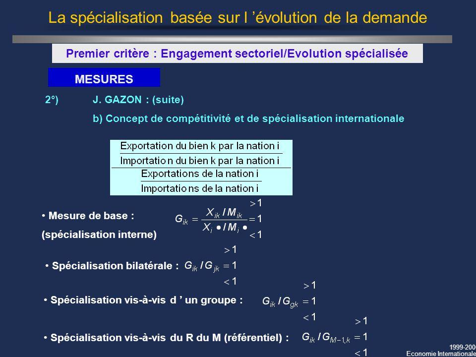 1999-2000 Economie Internationale La spécialisation basée sur l évolution de la demande Premier critère : Engagement sectoriel/Evolution spécialisée M
