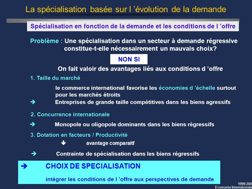 1999-2000 Economie Internationale La spécialisation basée sur l évolution de la demande Problème : Une spécialisation dans un secteur à demande régres