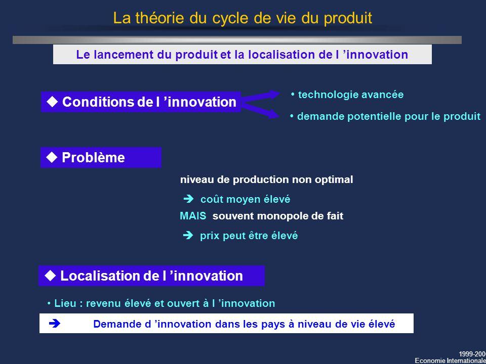 1999-2000 Economie Internationale La théorie du cycle de vie du produit u Conditions de l innovation Le lancement du produit et la localisation de l i