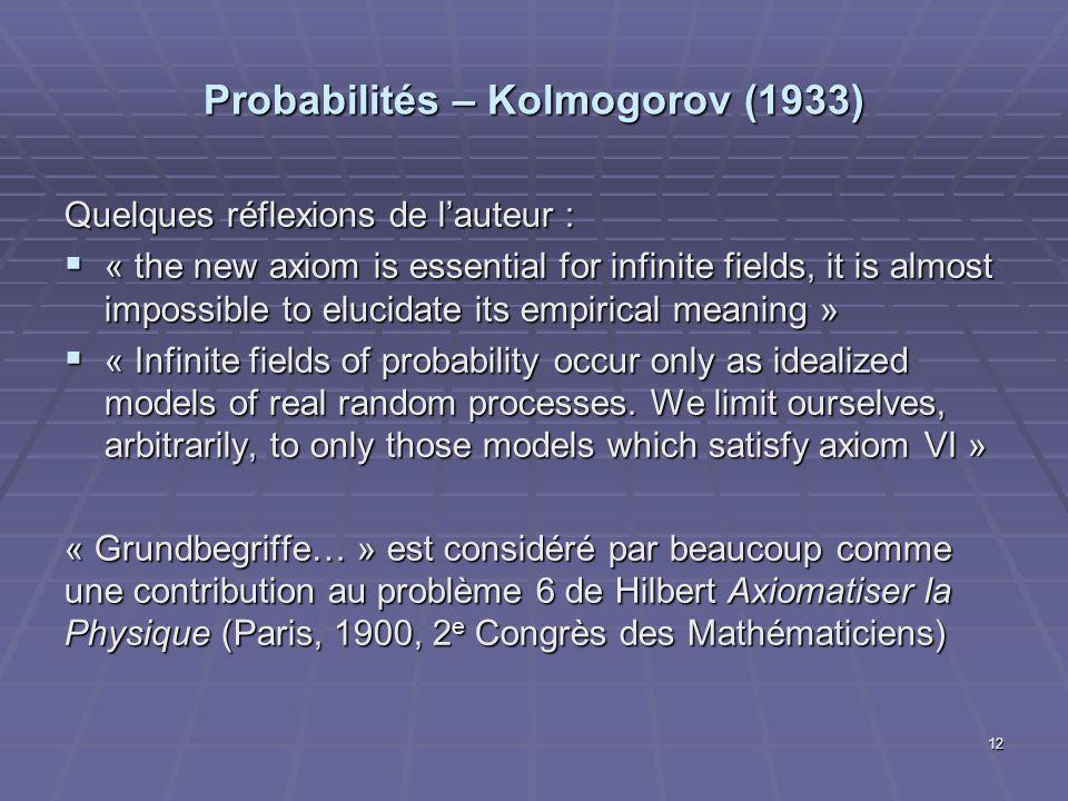 Probabilités – Kolmogorov (1933) Quelques réflexions de lauteur : « the new axiom is essential for infinite fields, it is almost impossible to elucida