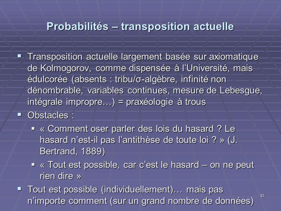 Probabilités – transposition actuelle Transposition actuelle largement basée sur axiomatique de Kolmogorov, comme dispensée à lUniversité, mais édulco