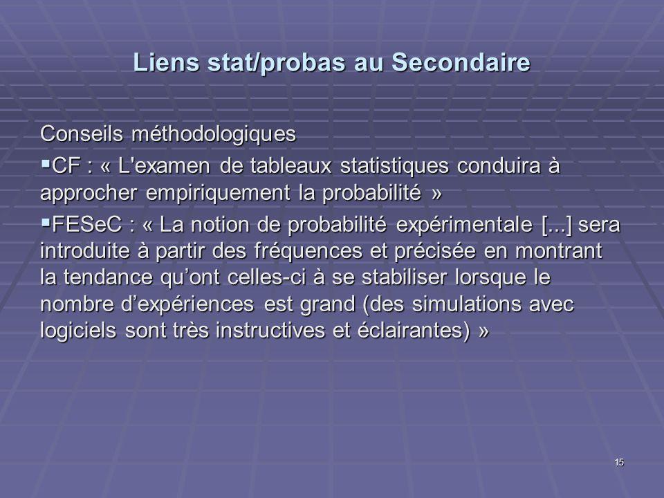 Liens stat/probas au Secondaire Conseils méthodologiques CF : « L'examen de tableaux statistiques conduira à approcher empiriquement la probabilité »