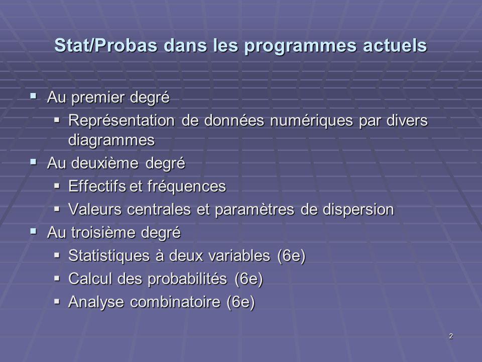 Stat/Probas dans les programmes actuels Au premier degré Au premier degré Représentation de données numériques par divers diagrammes Représentation de