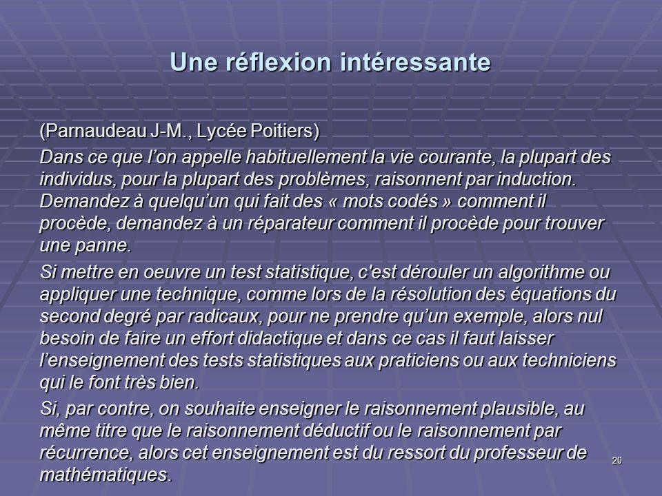 Une réflexion intéressante (Parnaudeau J-M., Lycée Poitiers) Dans ce que lon appelle habituellement la vie courante, la plupart des individus, pour la