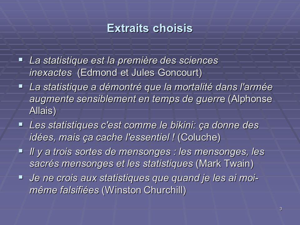 Extraits choisis La statistique est la première des sciences inexactes (Edmond et Jules Goncourt) La statistique est la première des sciences inexacte