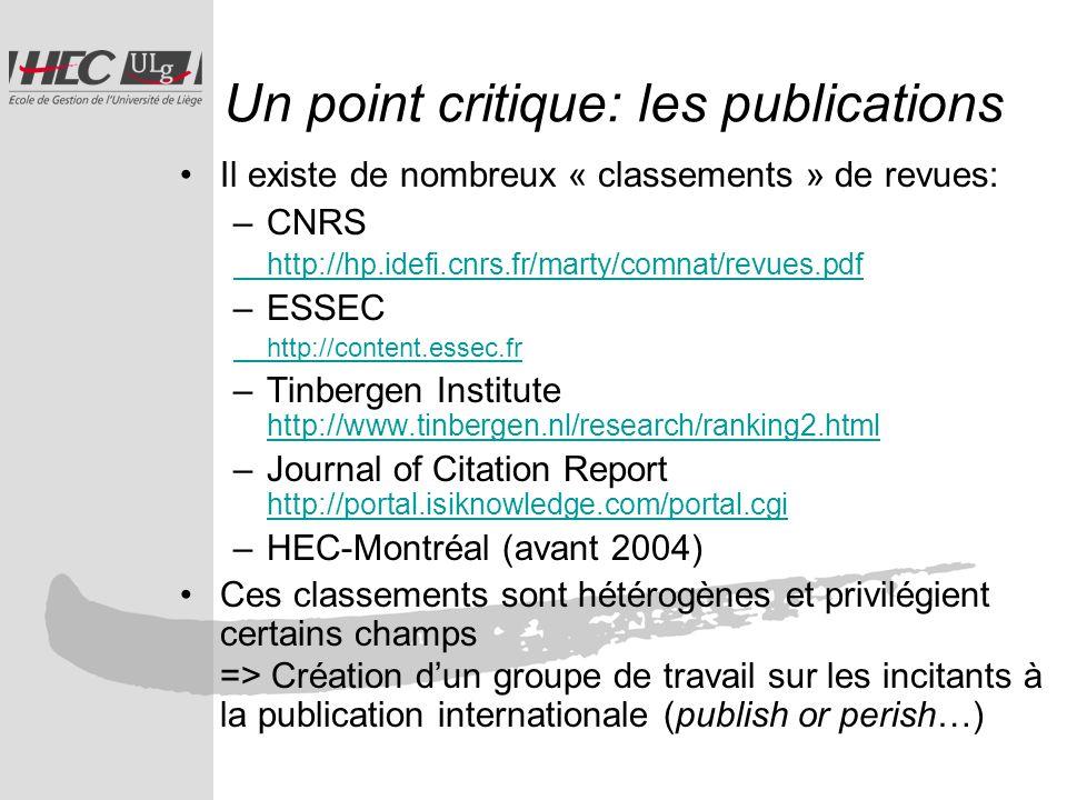 Un point critique: les publications Il existe de nombreux « classements » de revues: –CNRS http://hp.idefi.cnrs.fr/marty/comnat/revues.pdf –ESSEC http://content.essec.fr –Tinbergen Institute http://www.tinbergen.nl/research/ranking2.html http://www.tinbergen.nl/research/ranking2.html –Journal of Citation Report http://portal.isiknowledge.com/portal.cgi http://portal.isiknowledge.com/portal.cgi –HEC-Montréal (avant 2004) Ces classements sont hétérogènes et privilégient certains champs => Création dun groupe de travail sur les incitants à la publication internationale (publish or perish…)