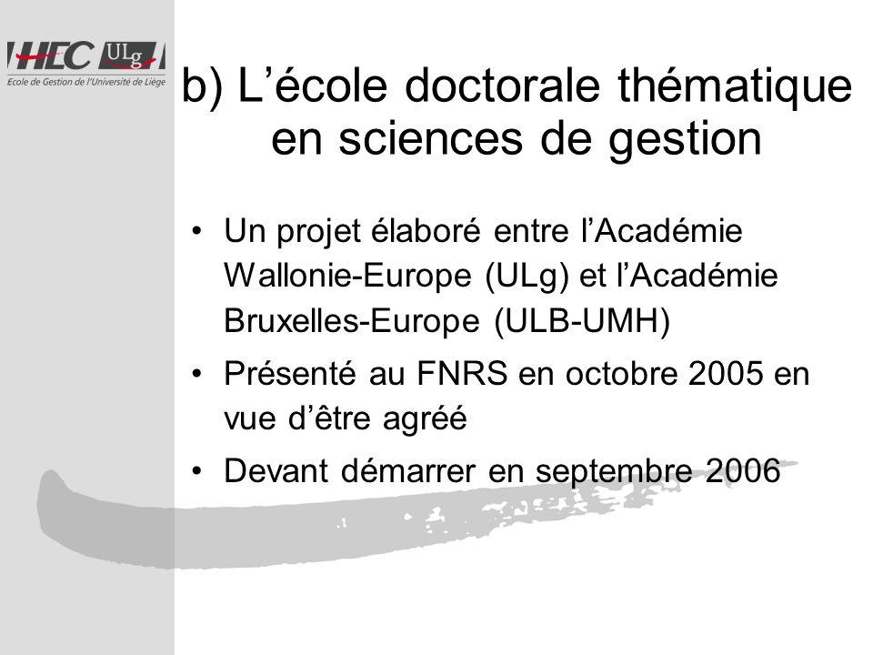 b) Lécole doctorale thématique en sciences de gestion Un projet élaboré entre lAcadémie Wallonie-Europe (ULg) et lAcadémie Bruxelles-Europe (ULB-UMH) Présenté au FNRS en octobre 2005 en vue dêtre agréé Devant démarrer en septembre 2006