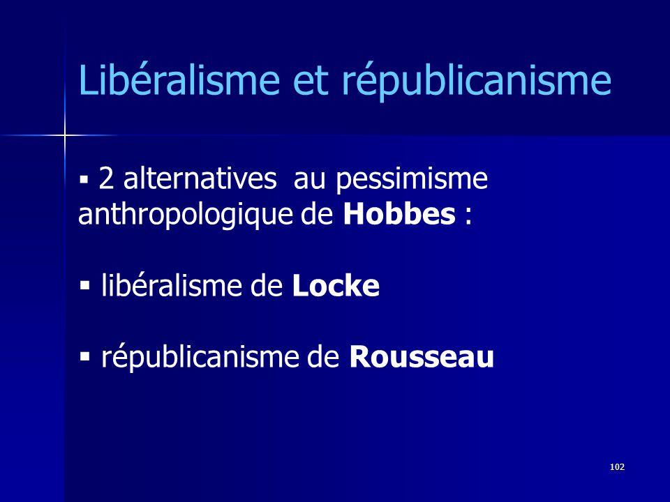 2 alternatives au pessimisme anthropologique de Hobbes : libéralisme de Locke républicanisme de Rousseau Libéralisme et républicanisme 102