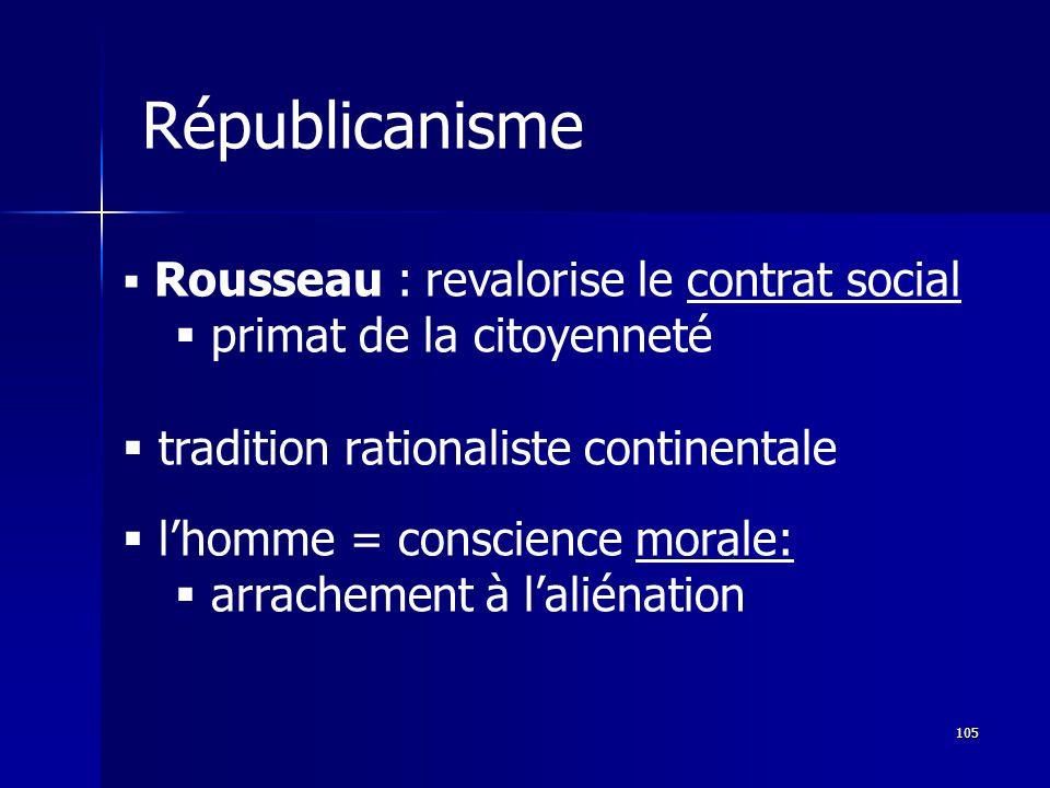 Rousseau : revalorise le contrat social primat de la citoyenneté tradition rationaliste continentale lhomme = conscience morale: arrachement à laliénation Républicanisme 105