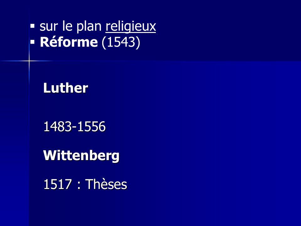 Luther1483-1556Wittenberg 1517 : Thèses sur le plan religieux Réforme (1543)