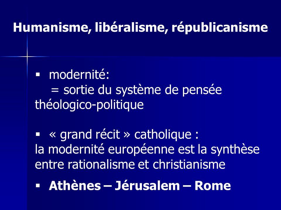 modernité: = sortie du système de pensée théologico-politique « grand récit » catholique : la modernité européenne est la synthèse entre rationalisme et christianisme Athènes – Jérusalem – Rome