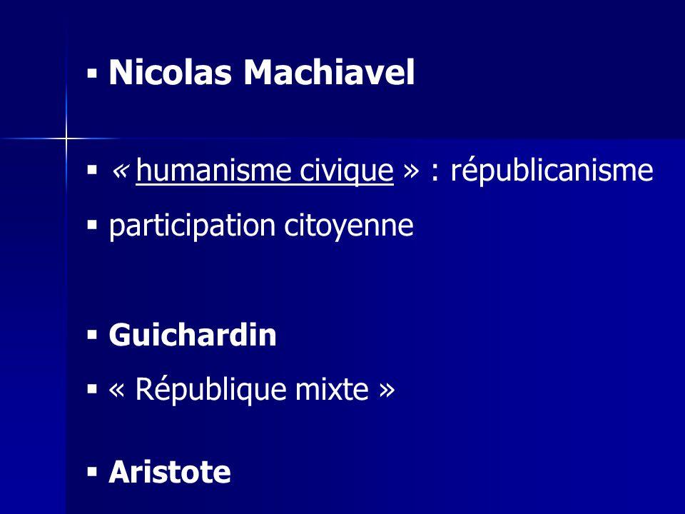 Nicolas Machiavel « humanisme civique » : républicanisme participation citoyenne Guichardin « République mixte » Aristote