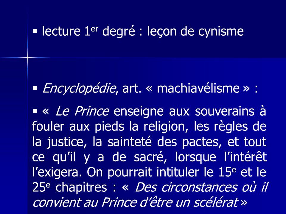lecture 1 er degré : leçon de cynisme Encyclopédie, art.