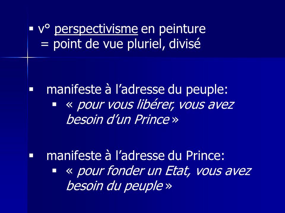 v° perspectivisme en peinture = point de vue pluriel, divisé manifeste à ladresse du peuple: « pour vous libérer, vous avez besoin dun Prince » manifeste à ladresse du Prince: « pour fonder un Etat, vous avez besoin du peuple »