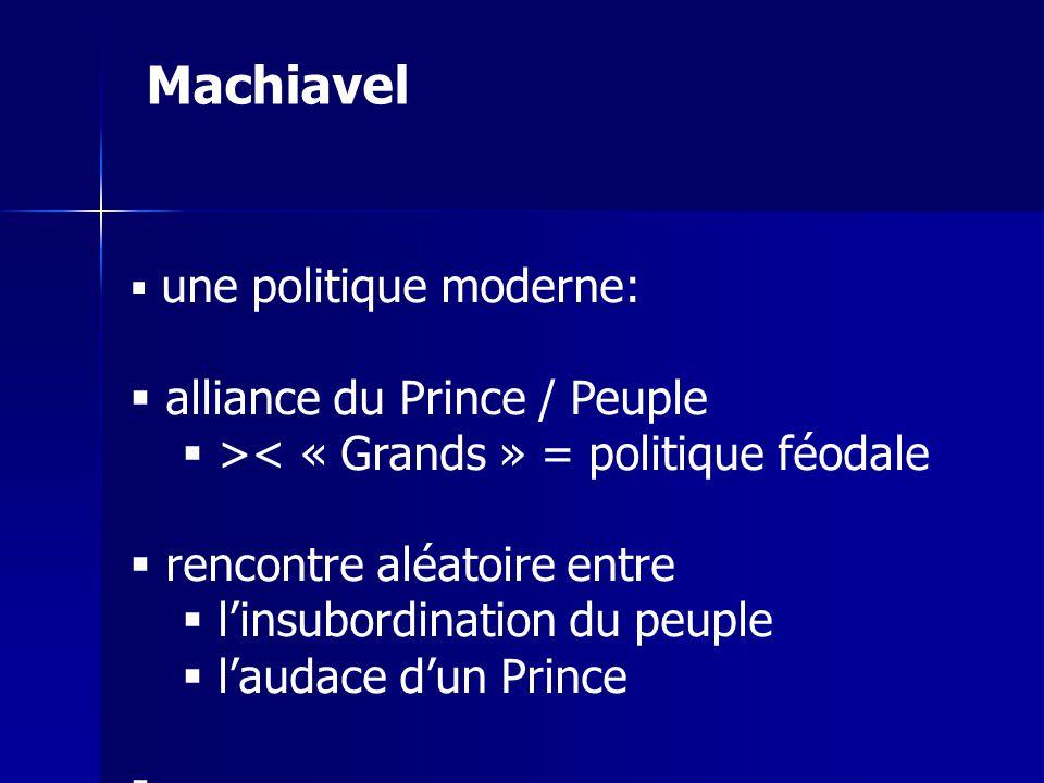 une politique moderne: alliance du Prince / Peuple >< « Grands » = politique féodale rencontre aléatoire entre linsubordination du peuple laudace dun Prince Machiavel