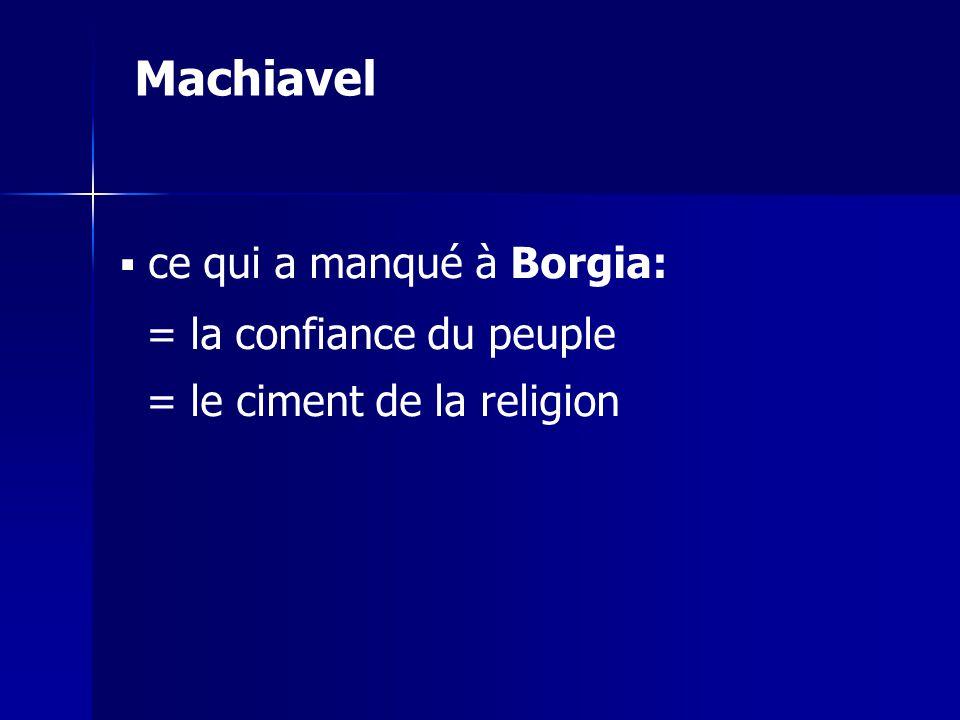 ce qui a manqué à Borgia: = la confiance du peuple = le ciment de la religion Machiavel