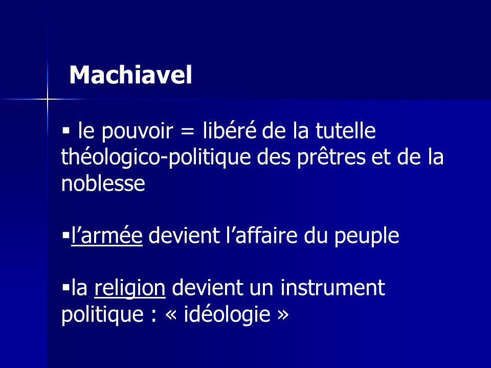 le pouvoir = libéré de la tutelle théologico-politique des prêtres et de la noblesse larmée devient laffaire du peuple la religion devient un instrument politique : « idéologie » Machiavel