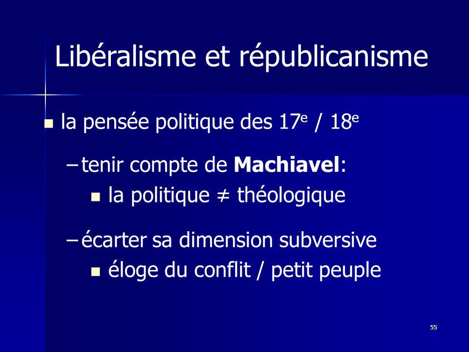 la pensée politique des 17 e / 18 e – –tenir compte de Machiavel: la politique théologique – –écarter sa dimension subversive éloge du conflit / petit peuple Libéralisme et républicanisme 55