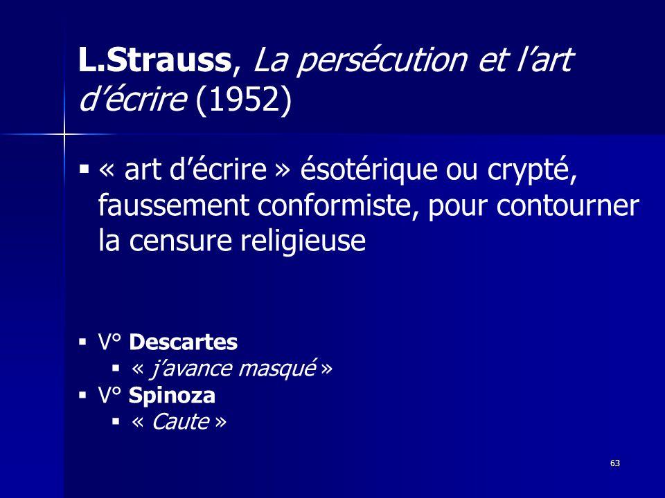L.Strauss, La persécution et lart décrire (1952) 63 « art décrire » ésotérique ou crypté, faussement conformiste, pour contourner la censure religieuse V° Descartes « javance masqué » V° Spinoza « Caute »