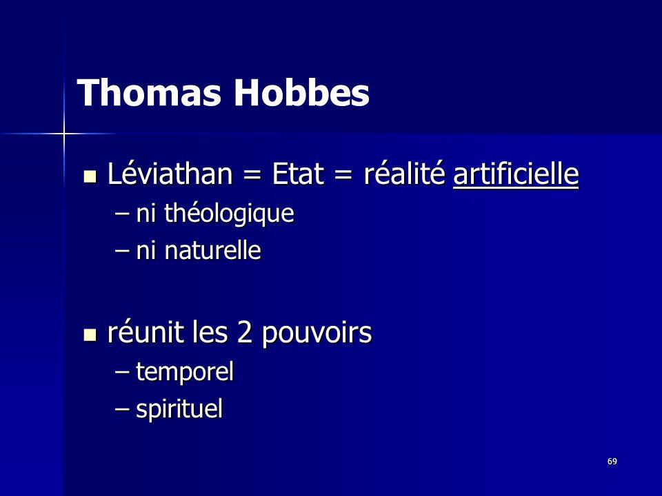 Léviathan = Etat = réalité artificielle Léviathan = Etat = réalité artificielle –ni théologique –ni naturelle réunit les 2 pouvoirs réunit les 2 pouvoirs –temporel –spirituel Thomas Hobbes 69