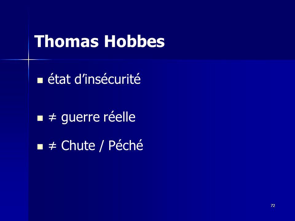 état dinsécurité guerre réelle Chute / Péché Thomas Hobbes 72