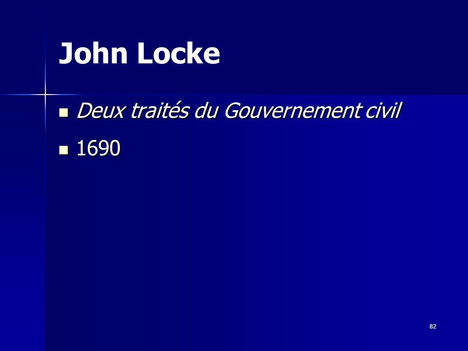 Deux traités du Gouvernement civil Deux traités du Gouvernement civil 1690 1690 John Locke 82