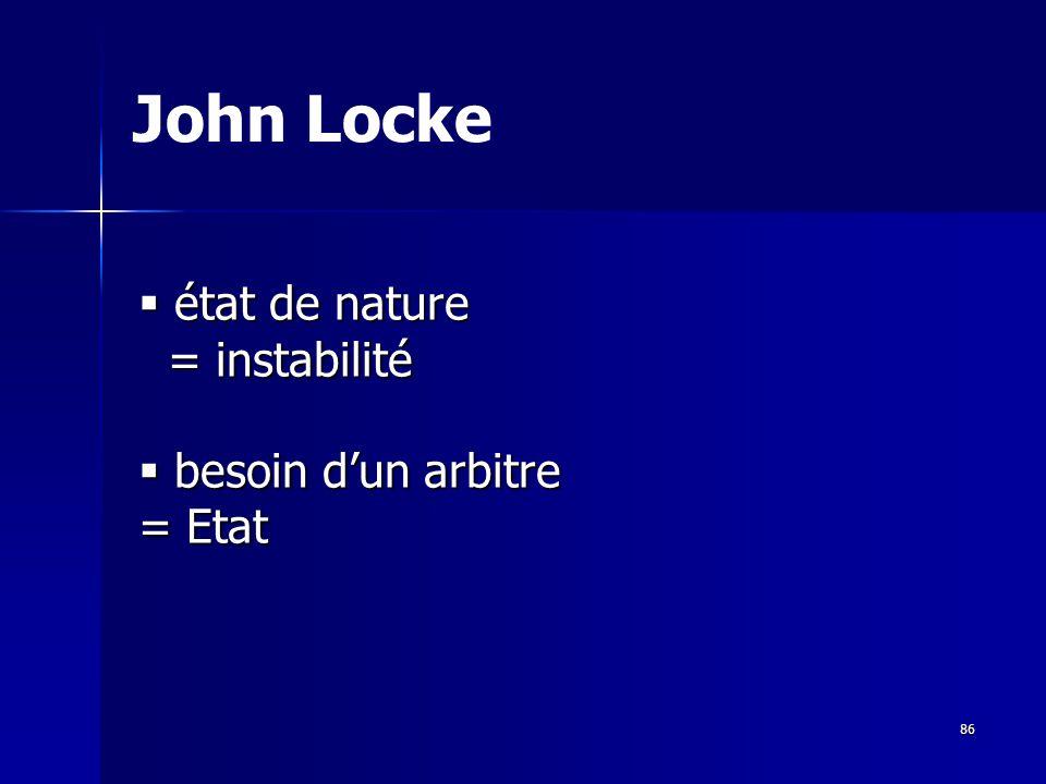 état de nature état de nature = instabilité = instabilité besoin dun arbitre besoin dun arbitre = Etat John Locke 86