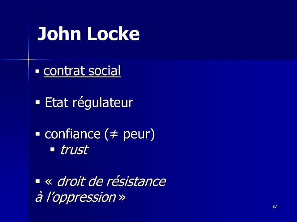 contrat social contrat social Etat régulateur Etat régulateur confiance ( peur) confiance ( peur) trust trust « droit de résistance à loppression » « droit de résistance à loppression » John Locke 87