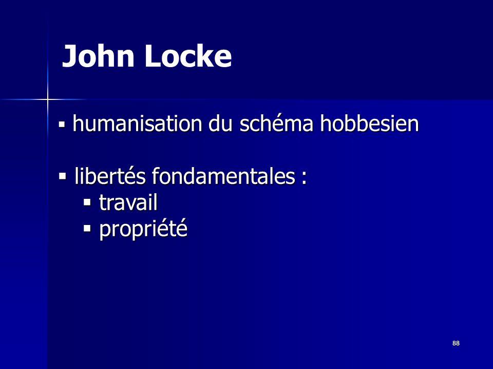 humanisation du schéma hobbesien humanisation du schéma hobbesien libertés fondamentales : libertés fondamentales : travail travail propriété propriété John Locke 88