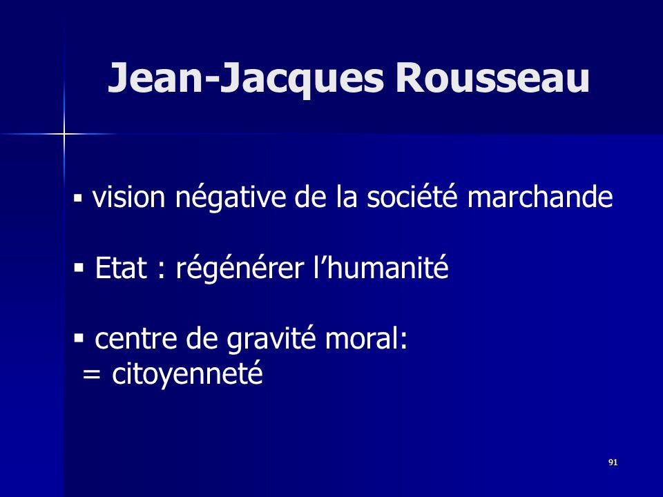 vision négative de la société marchande Etat : régénérer lhumanité centre de gravité moral: = citoyenneté Jean-Jacques Rousseau 91