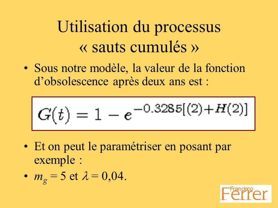 Utilisation du processus « sauts cumulés » Sous notre modèle, la valeur de la fonction dobsolescence après deux ans est : Et on peut le paramétriser en posant par exemple : m g = 5 et = 0,04.