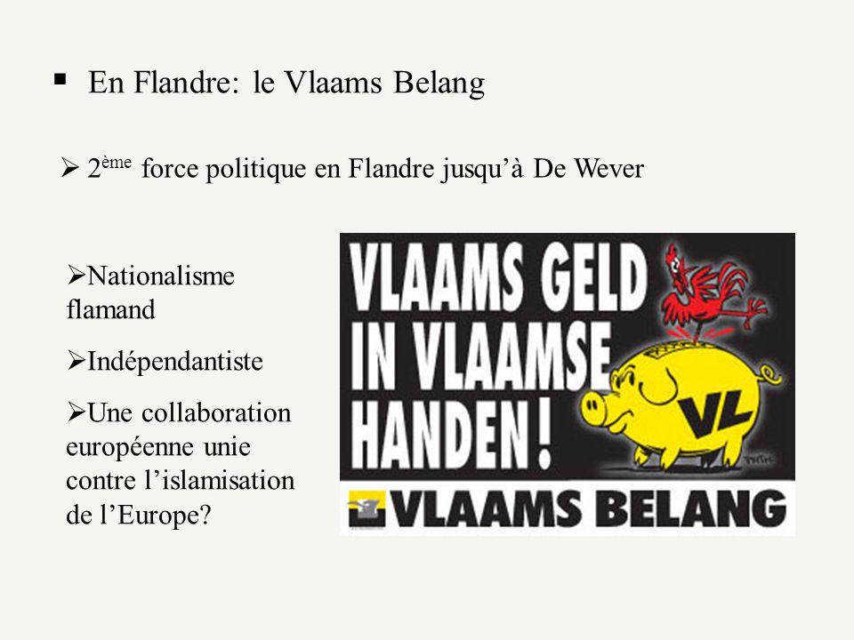 En Flandre: le Vlaams Belang 2 ème force politique en Flandre jusquà De Wever Nationalisme flamand Indépendantiste Une collaboration européenne unie c