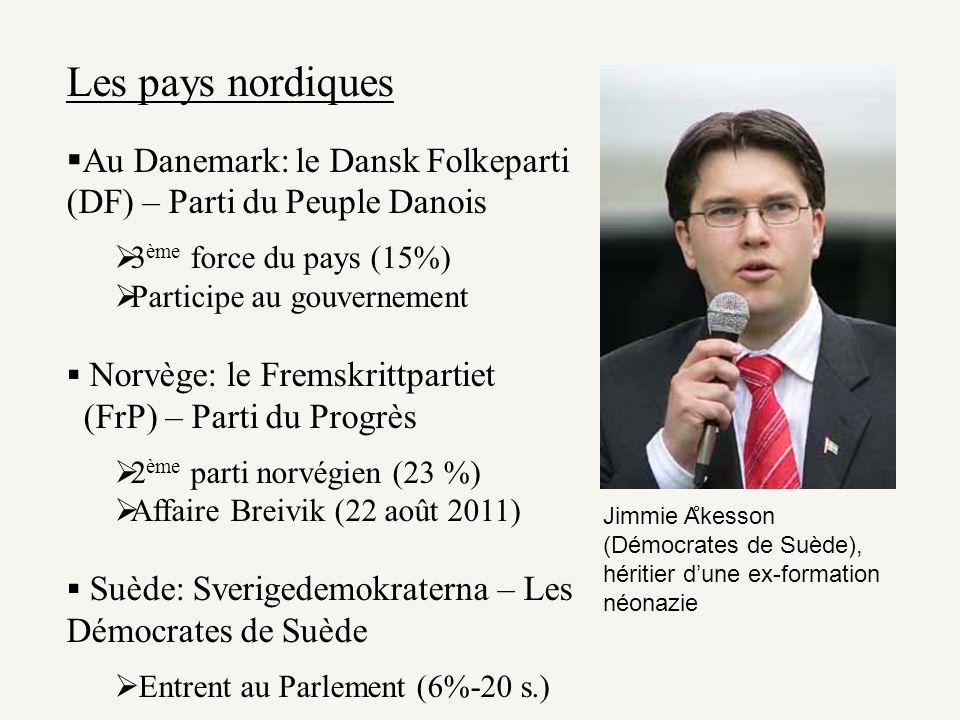 Les pays nordiques Au Danemark: le Dansk Folkeparti (DF) – Parti du Peuple Danois 3 ème force du pays (15%) Participe au gouvernement Norvège: le Frem