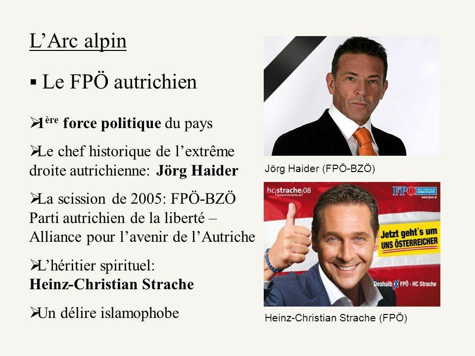 LArc alpin Le FPÖ autrichien 1 ère force politique du pays Le chef historique de lextrême droite autrichienne: Jörg Haider La scission de 2005: FPÖ-BZ