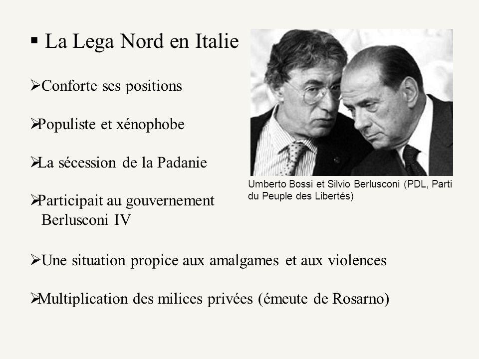 La Lega Nord en Italie Conforte ses positions Populiste et xénophobe La sécession de la Padanie Participait au gouvernement Berlusconi IV Umberto Boss