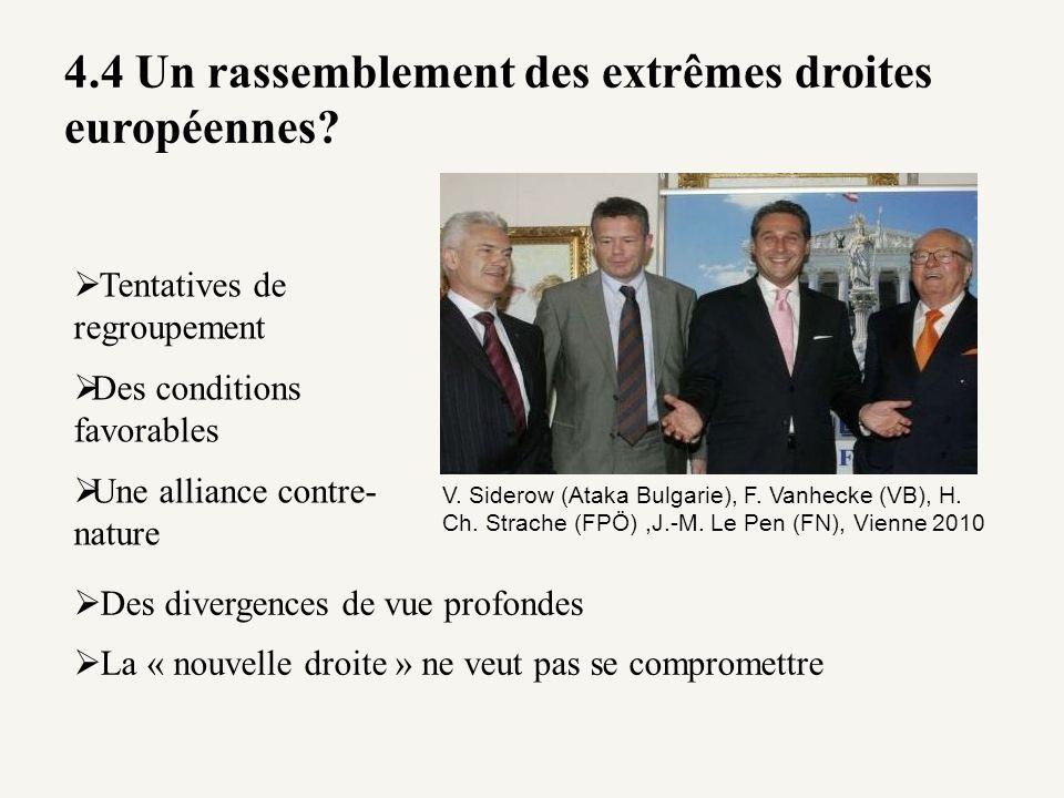 4.4 Un rassemblement des extrêmes droites européennes? V. Siderow (Ataka Bulgarie), F. Vanhecke (VB), H. Ch. Strache (FPÖ),J.-M. Le Pen (FN), Vienne 2