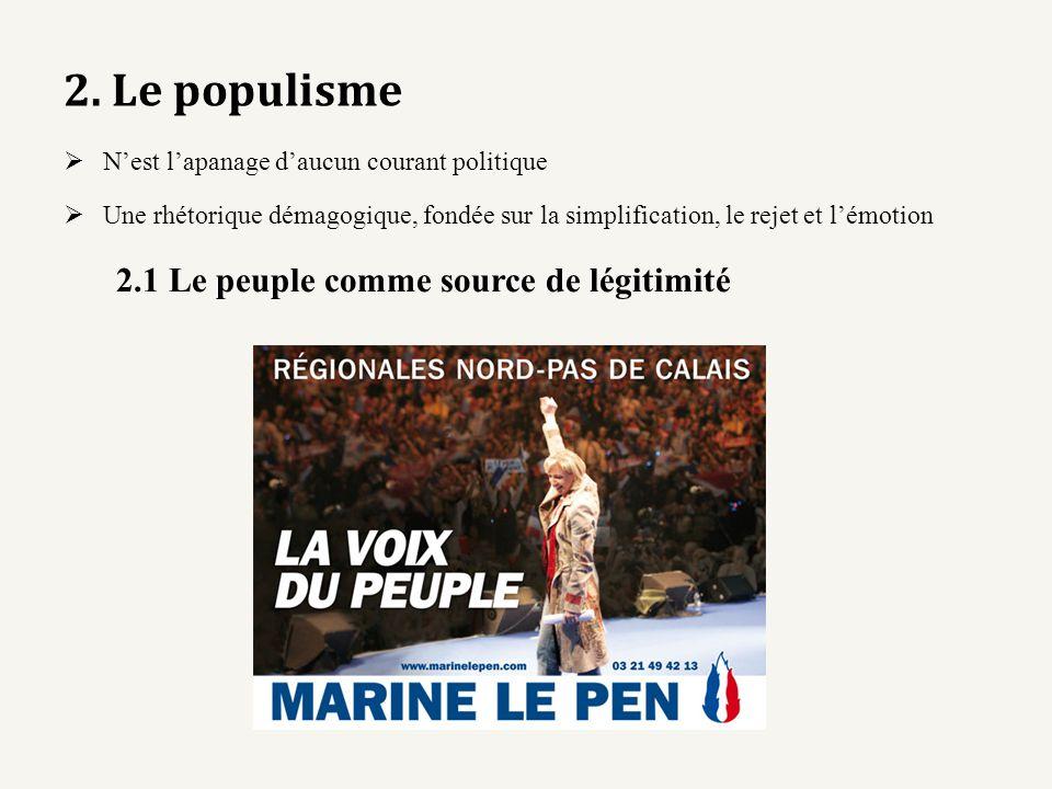 2. Le populisme Nest lapanage daucun courant politique Une rhétorique démagogique, fondée sur la simplification, le rejet et lémotion 2.1 Le peuple co