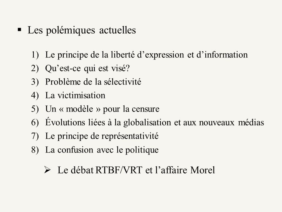 Les polémiques actuelles 1)Le principe de la liberté dexpression et dinformation 2)Quest-ce qui est visé? 3)Problème de la sélectivité 4)La victimisat
