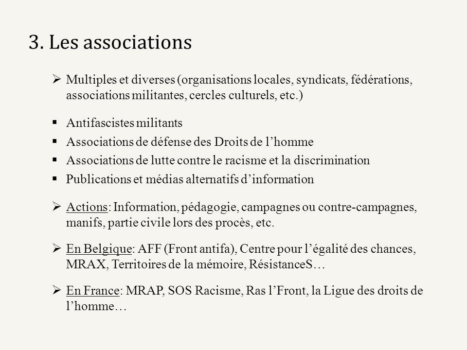 3. Les associations Multiples et diverses (organisations locales, syndicats, fédérations, associations militantes, cercles culturels, etc.) Antifascis