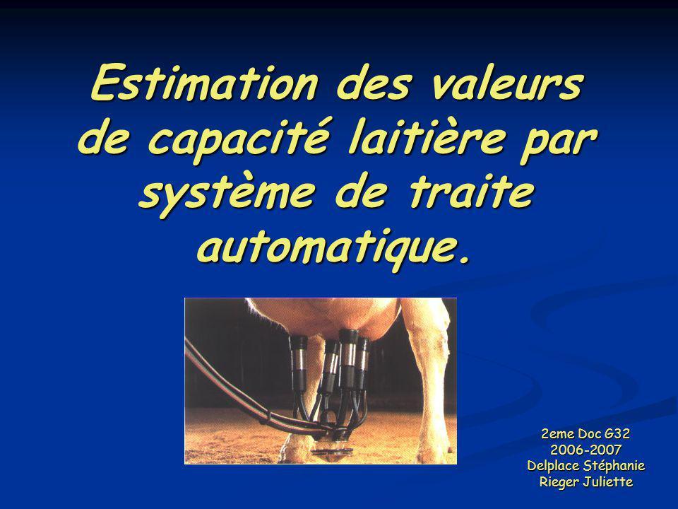 Estimation des valeurs de capacité laitière par système de traite automatique. 2eme Doc G32 2006-2007 Delplace Stéphanie Rieger Juliette