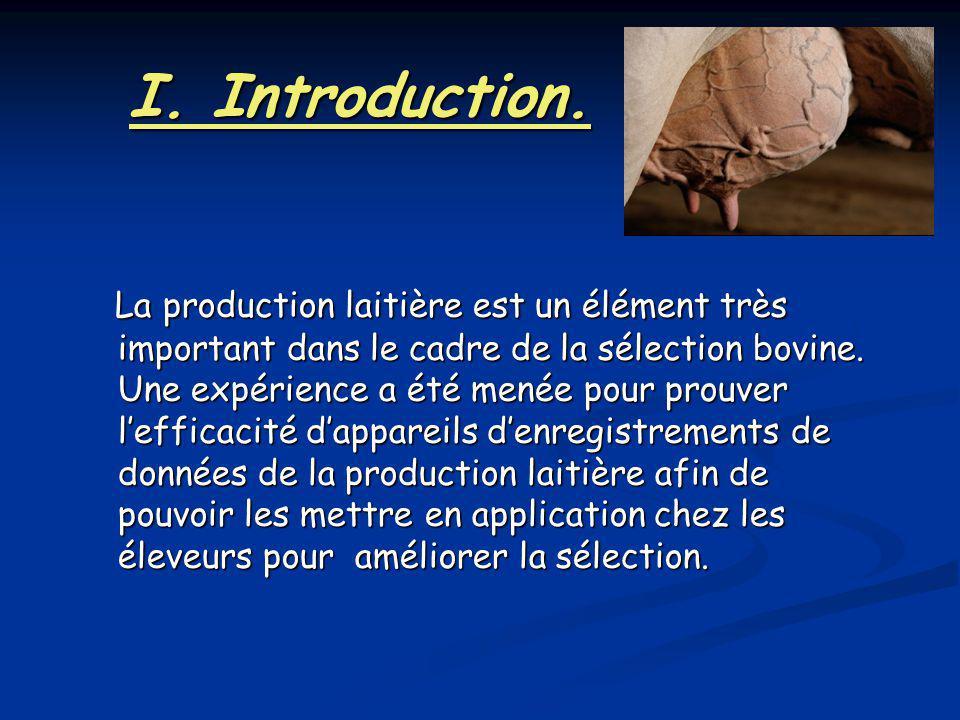 I. Introduction. La production laitière est un élément très important dans le cadre de la sélection bovine. Une expérience a été menée pour prouver le