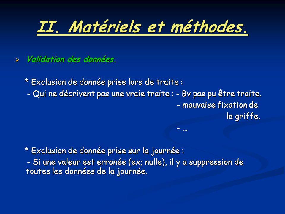 II. Matériels et méthodes. Validation des données. Validation des données. * Exclusion de donnée prise lors de traite : * Exclusion de donnée prise lo