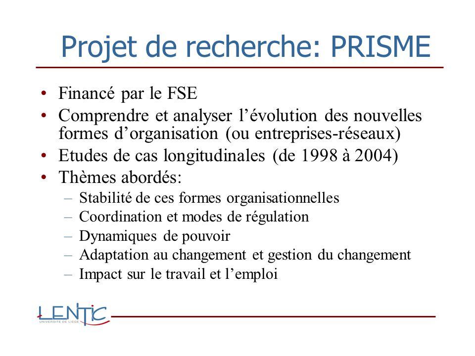 Projet de recherche: PRISME Financé par le FSE Comprendre et analyser lévolution des nouvelles formes dorganisation (ou entreprises-réseaux) Etudes de cas longitudinales (de 1998 à 2004) Thèmes abordés: –Stabilité de ces formes organisationnelles –Coordination et modes de régulation –Dynamiques de pouvoir –Adaptation au changement et gestion du changement –Impact sur le travail et lemploi