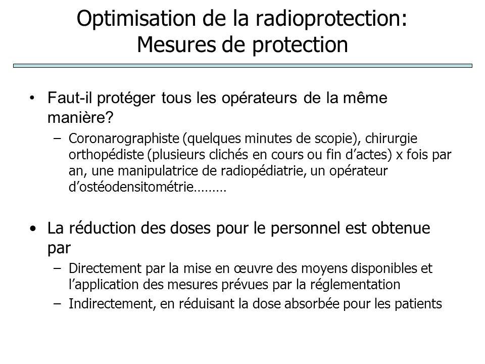 Optimisation de la radioprotection: Mesures de protection Faut-il protéger tous les opérateurs de la même manière.