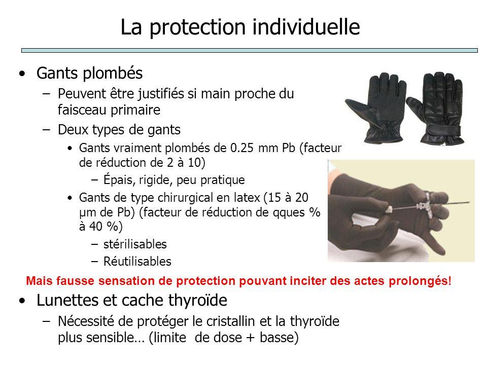 La protection individuelle Gants plombés –Peuvent être justifiés si main proche du faisceau primaire –Deux types de gants Gants vraiment plombés de 0.25 mm Pb (facteur de réduction de 2 à 10) –Épais, rigide, peu pratique Gants de type chirurgical en latex (15 à 20 µm de Pb) (facteur de réduction de qques % à 40 %) –stérilisables –Réutilisables Lunettes et cache thyroïde –Nécessité de protéger le cristallin et la thyroïde plus sensible… (limite de dose + basse) Mais fausse sensation de protection pouvant inciter des actes prolongés!