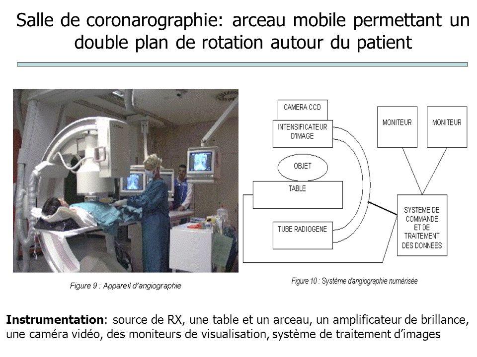 Salle de coronarographie: arceau mobile permettant un double plan de rotation autour du patient Instrumentation: source de RX, une table et un arceau, un amplificateur de brillance, une caméra vidéo, des moniteurs de visualisation, système de traitement dimages