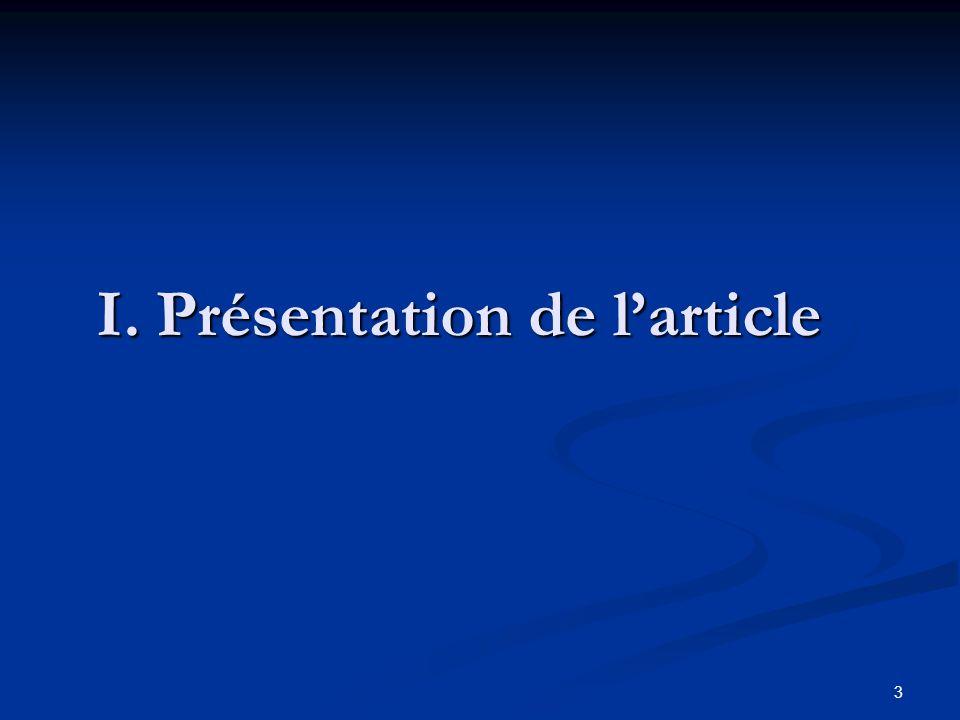 3 I. Présentation de larticle