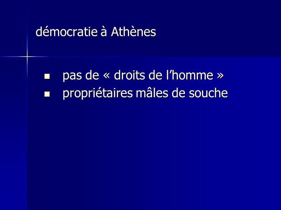 démocratie à Athènes pas de « droits de lhomme » pas de « droits de lhomme » propriétaires mâles de souche propriétaires mâles de souche